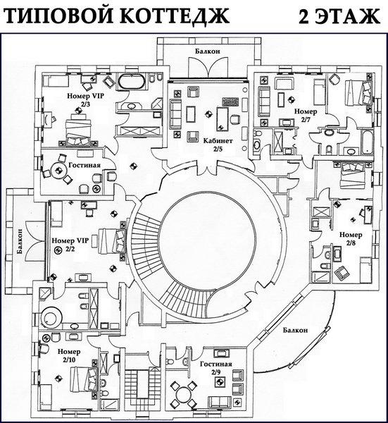 Схема 1 этажа коттеджа